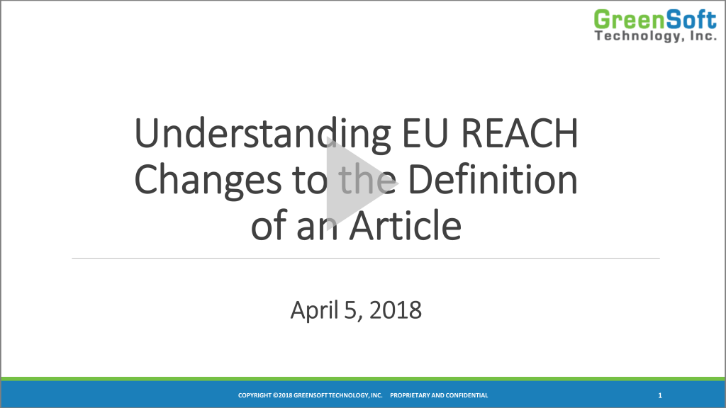 View the EU REACH Article Definition Webinar Recording
